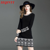 Black White Casual Knitted Dress 2017 Autumn Winter Color Patchwork Geometric Pattern Package Hip Women New