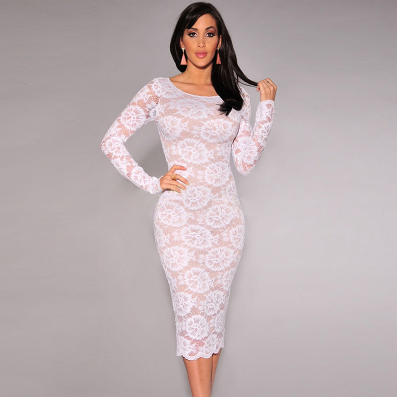 71bebc6cb976 Rose Red Yellow Long Sleeve Spring Autumn Bodycon Dress Women Backless  Party Dresses Lace Floral Formal Prom Midi Dress 60248-in Dresses from  Women's ...