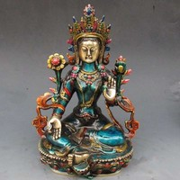 decoration brass factory Pure Brass Antique 8.66 inch Exquisite Chinese hand carved cloisonne buddhist Buddha green tara statue