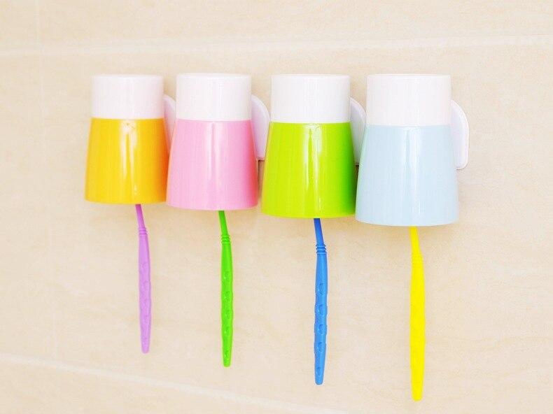 4 цвета конфеты Цвет stciker стиль Зубная щётка Держатель стикер крючки/предметы домашнего обихода/Зубная щётка стойки/набор для ванной с коробкой