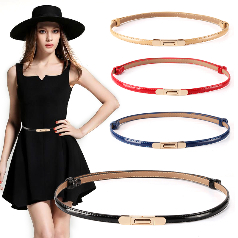 New Belts For Women Thin Patent Leather Waistband Dress Gold Hook Button Fashion Adjust Genuine Ceinture Femme Decorative Skirt