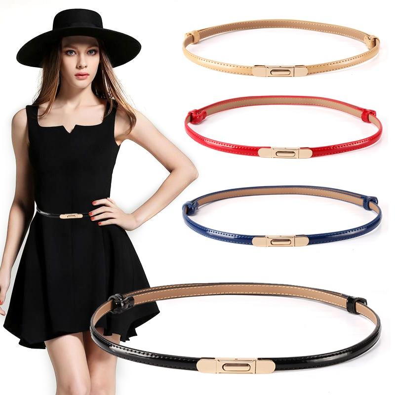 New Belts For Women Thin Patent Leather Waistband Dress Gold Hook Button Fashion Adjust Genuine Ceinture Femme Decorative Skirt