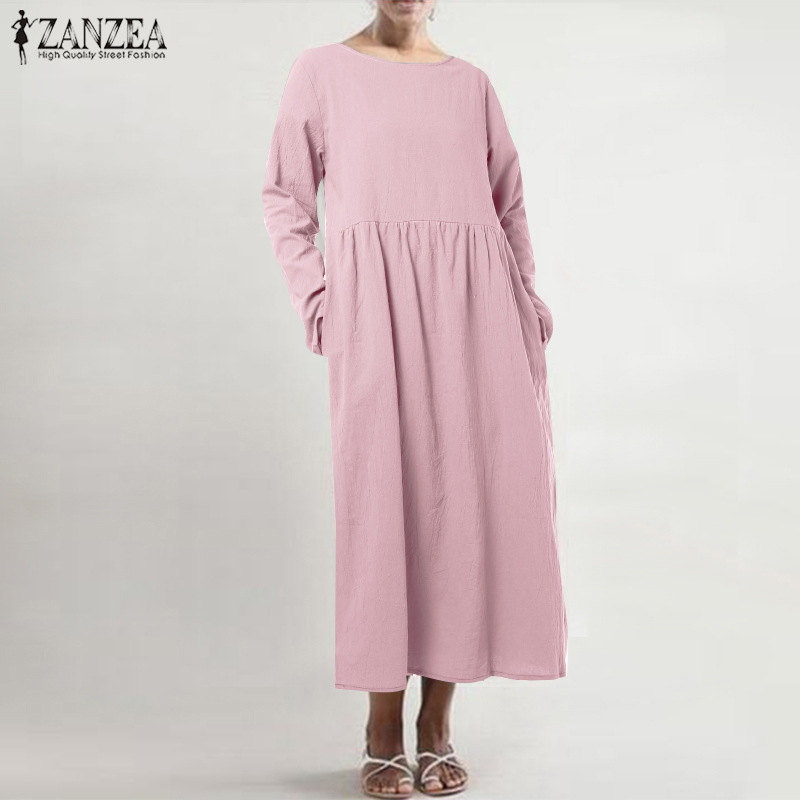 2019 ZANZEA Dress for Women Casual Long Sleeve Cotton Dresses Autumn Female Solid Pockets Mid Calf Vestidos Robe Femme Plus Size