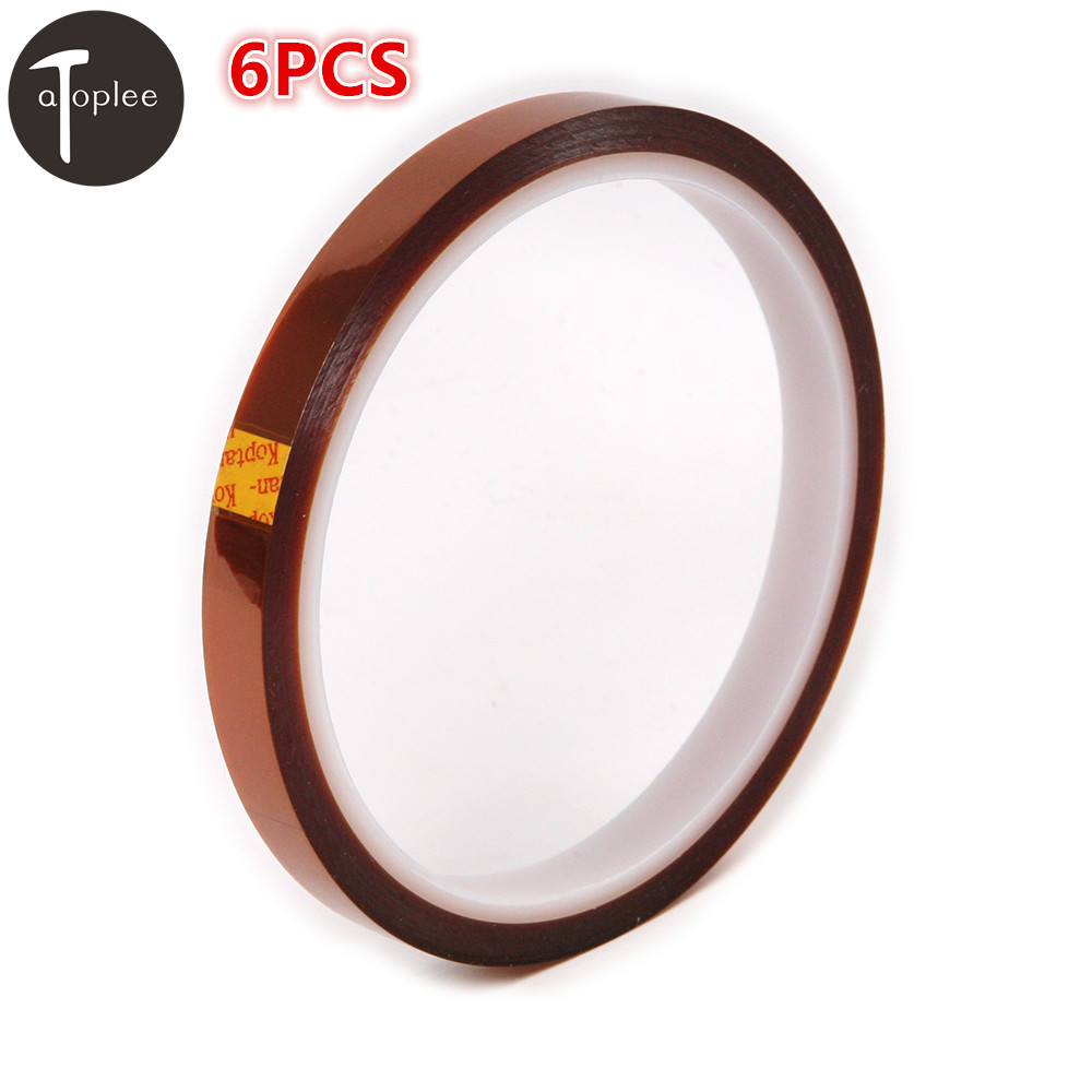 NEW 6PCS 10mm*33m High Temperature Heat Resistant kapton Tape Polyimide Adhesive Insulation Tape For BGA Repairing high temperature heat resistant polyimide adhesive tape 65mm x 30m 260 300 degree new for electronics industry