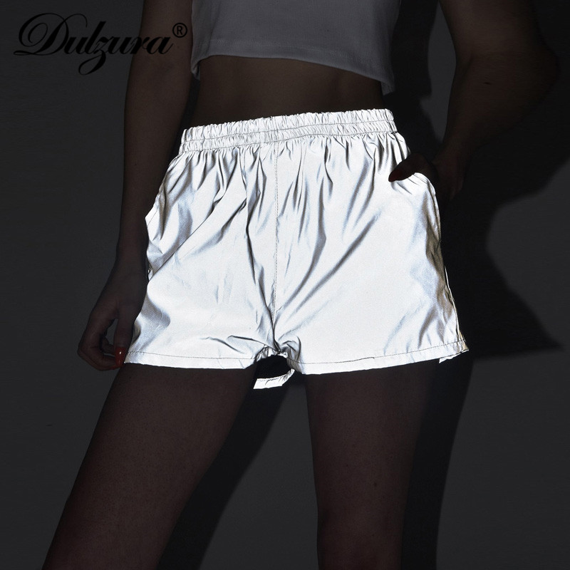 Dulzura 2019 Flash Reflective Women Shorts Streetwear Festival Party Club Casual Gray Active Wear