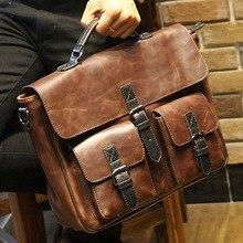 2017 new brown leather office bags for men designer briefcase male business portfolio mens shoulder messenger bag handbag B00014