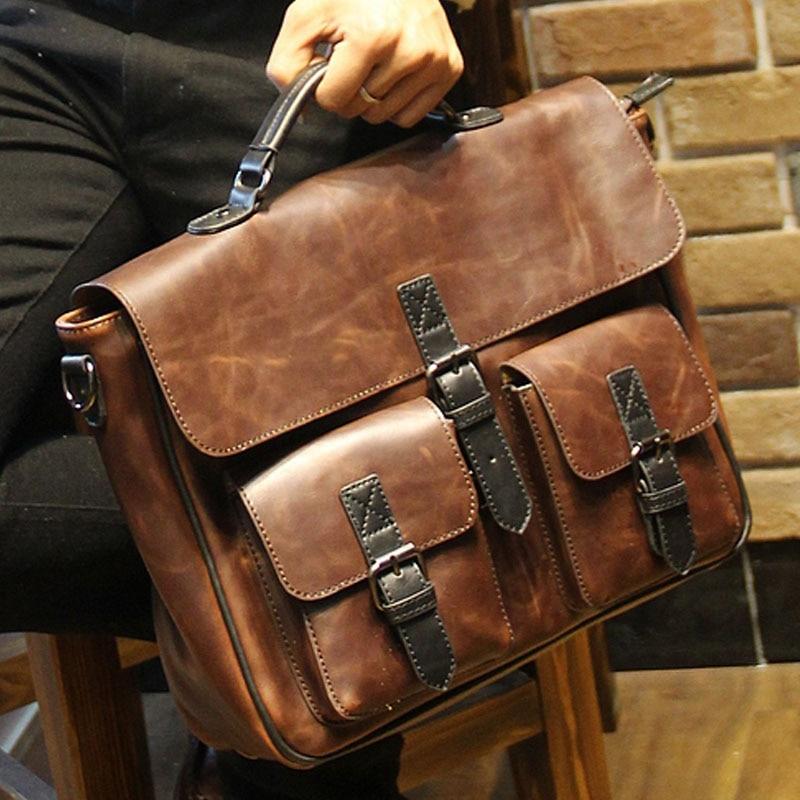 2017 New Brown Leather Office Bags For Men Designer Briefcase Male Business Portfolio Mens Shoulder Messenger Bag Handbag B00014 In Briefcases From Luggage