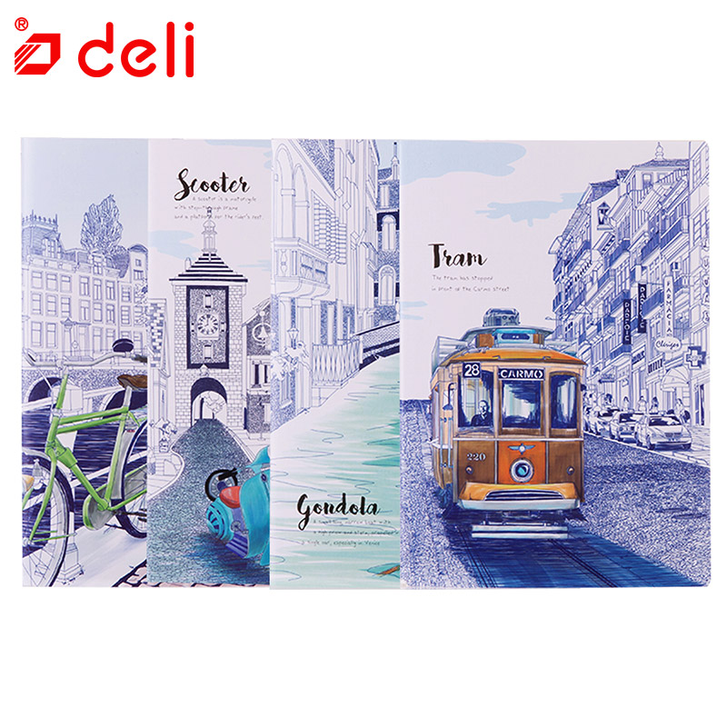 Deli 4pcs A5 Kawaii Notebook Kids Cute Fitted Notebook Notepad Diary Book Student Prize Gift for Children Office School Supplies