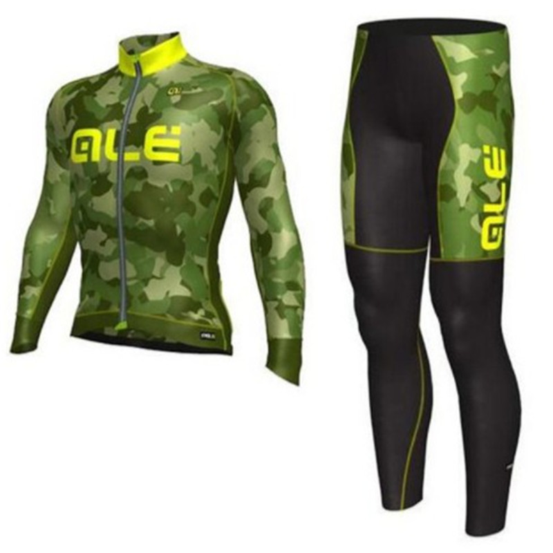 2018 Team Long Sleeve Cycling Wear Spring/Autumn Quick Dry Ropa Cycling Jersey Bike Riding Clothing Set with 16D Gel Pa