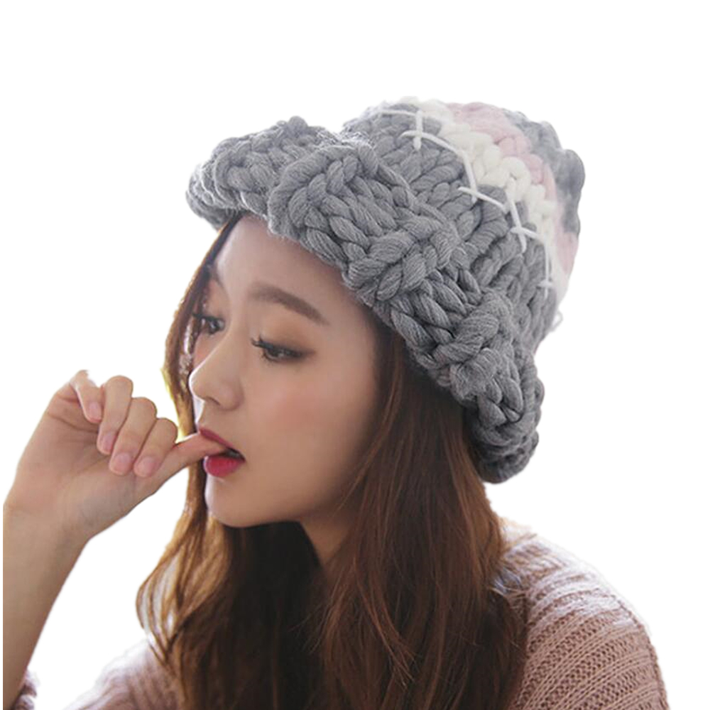 2017 new women warm Winter Hats Casual Acrylic Rushed Female Hand Coarse Knitted Hat For Women Beanie Gift Fast delivery bingyuanhaoxuan2017 warm patchwork hats casual female autumn winter hats handmade coarse knitted hat for women beanies candy cap
