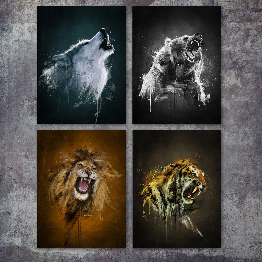 Watercolor Wolf Bear Lion Tiger Wall Art Canvas Painting Nordic Posters And Prints Animals Wall Pictures For Living Room Decor