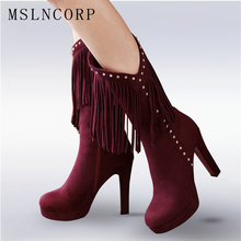 Plus Size 34-43 New Flock Autumn Winter Fur Women boots Sexy High heels Mid Calf boots Fringe Tassels Fashion Rivets Woman Shoes