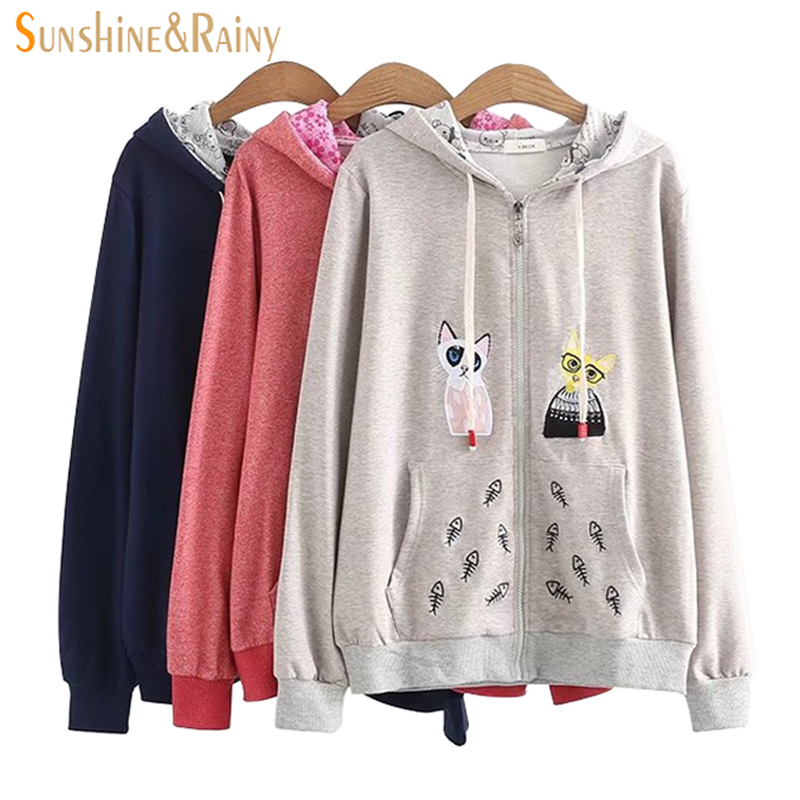 2018 Cat Fish Embroidery Coat moletom Spring Loose Hoodies Cardigan Jacket Female Student Pocket Decoration Cartoon Coat Tops