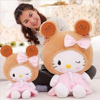 Large Cute Cookies Hello Kitty Cat Doll Lace Cushions Birthday Gift Sleep Doll Appease Baby Plush