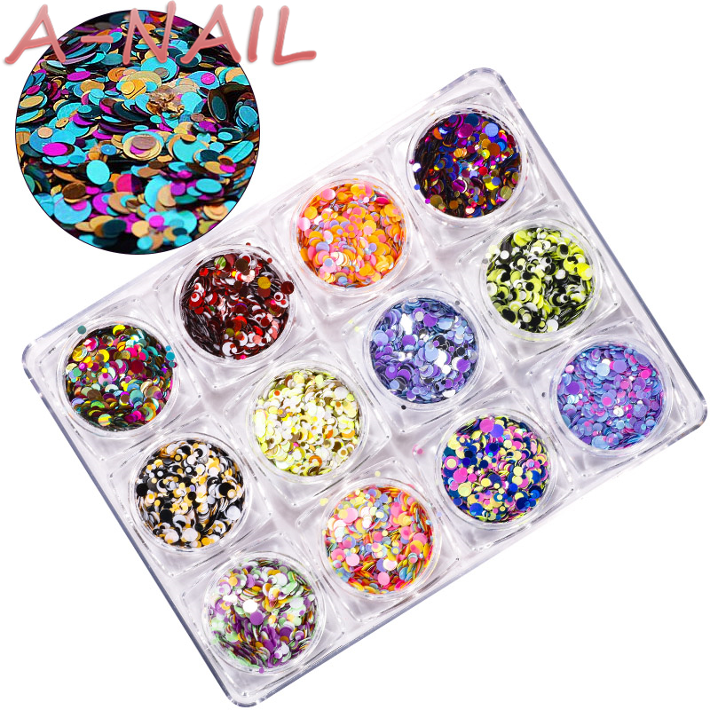 A-NAIL 1 Set Colorful Ultrathin Nail Sequins Tips Mixed Nail Glitter Paillette 12 Colors DIY Manicure Nail Art Decorations D 1 pack mixed size crystal ab colorful nail art rhinestones flat back 3d glass nail glitter decorations diy manicure accessories