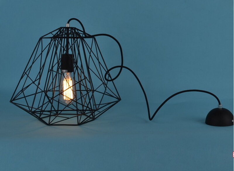 Modern Hive Iron Diamond Cage Lustre Pendant Light Rustic Lamp ...