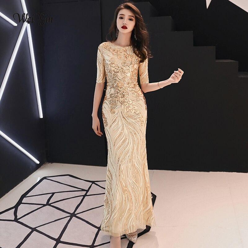 Weiyin Moitié Manches Or Robes De Soirée Long O-cou Dos Nu Sequin Sirène Robes De Bal 2019 Occasion Spéciale Robes WY114