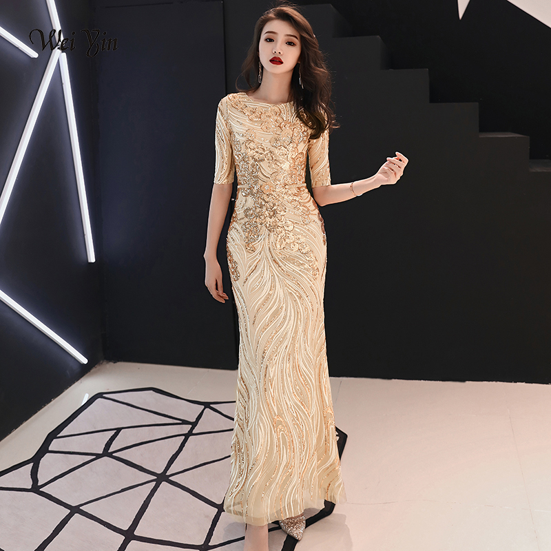 weiyin Half Sleeves Gold   Evening     Dresses   Long O-neck Backless Sequin Mermaid Prom   Dresses   2019 Special Occasion   Dresses   WY114