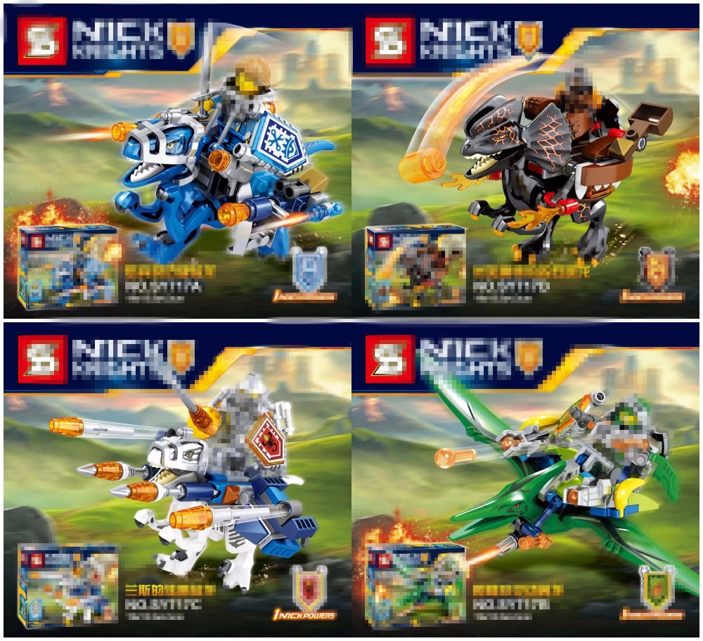 SY717 4Pcs/set Nexus Knights lepin model Building Blocks blockset ULTIMATE Clay Macy Beast Master Lavaria christmas gift kid set ncaa central florida knights aztec can koozie set of 4