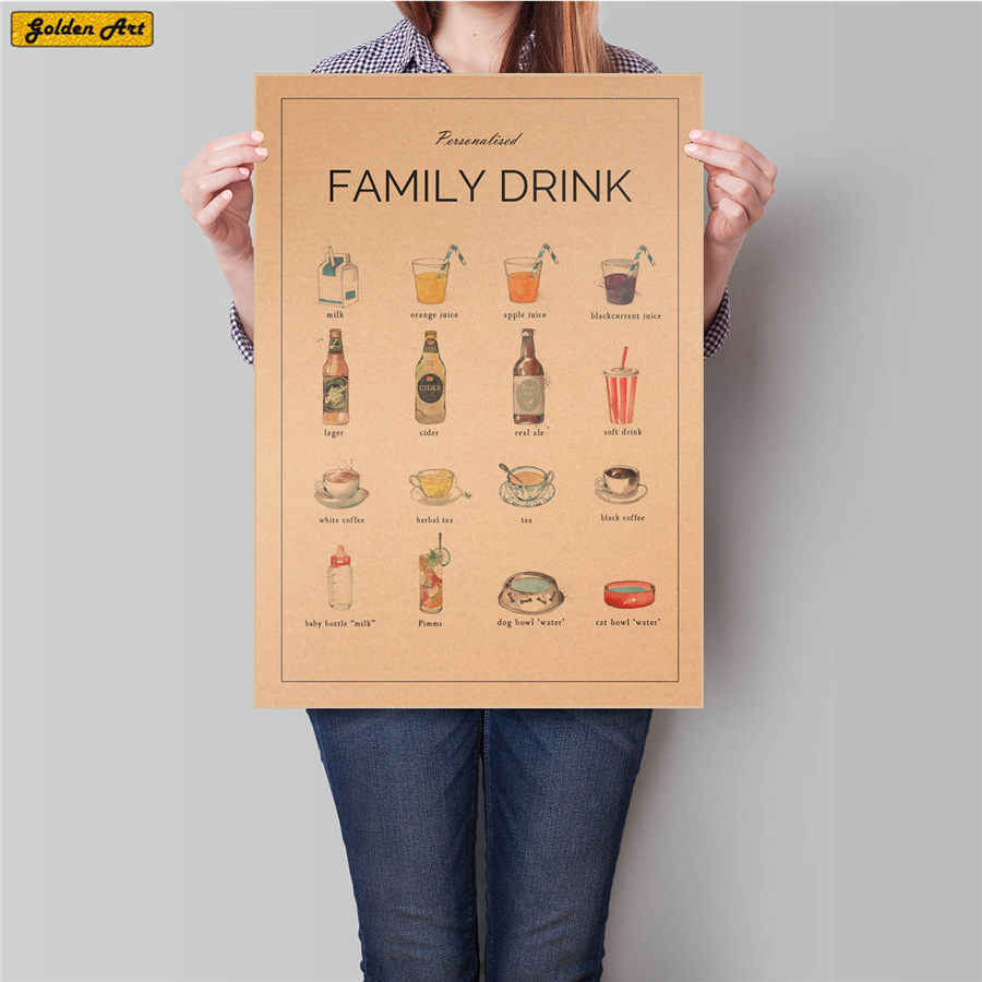 FAMILY DRINK CHART Vintage poster wall sticker Beer Wine Painting decor retro art paint prints restaurant picture 45.5x31.5cm