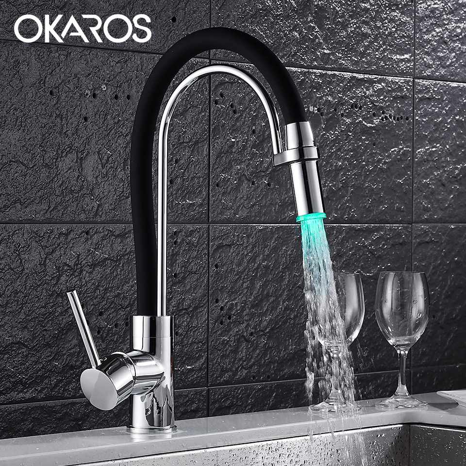 OKAROS Kitchen Sink Faucet Pull Out Dual Sprayer Nozzle White Paint ...