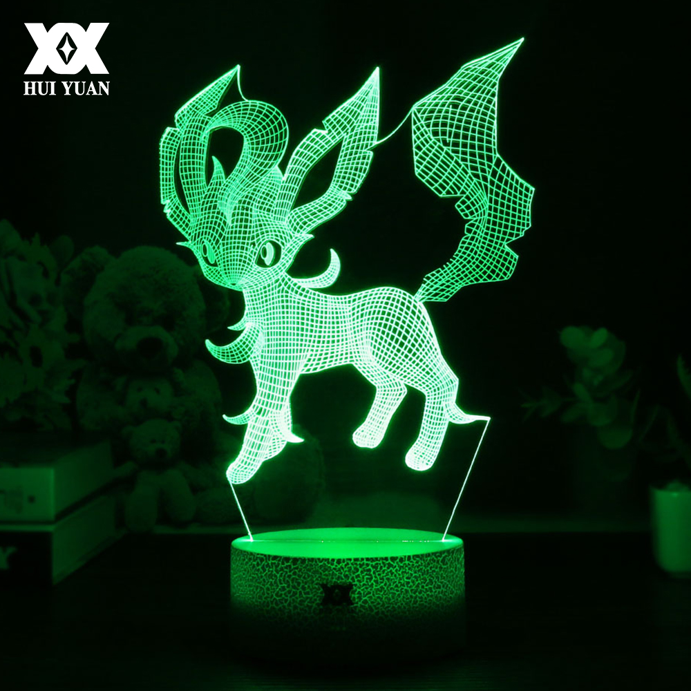 HUI YUAN New Pokemon Leafeon Cartoon 3D Lamp Creative LED Cool Multicolor Night Light Home Decoration Table Lamp Child's Gift new pokemon go ralts 3d lamp usb cartoon night light led cool colorful home decorative table lamp children bedroom sleep lights