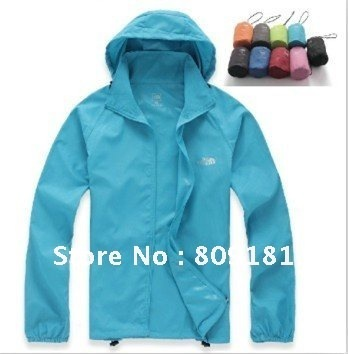 Free shipping men's and women's outdoor ultra-thin waterproof windproof UV protection Unisex Jackets / Coat
