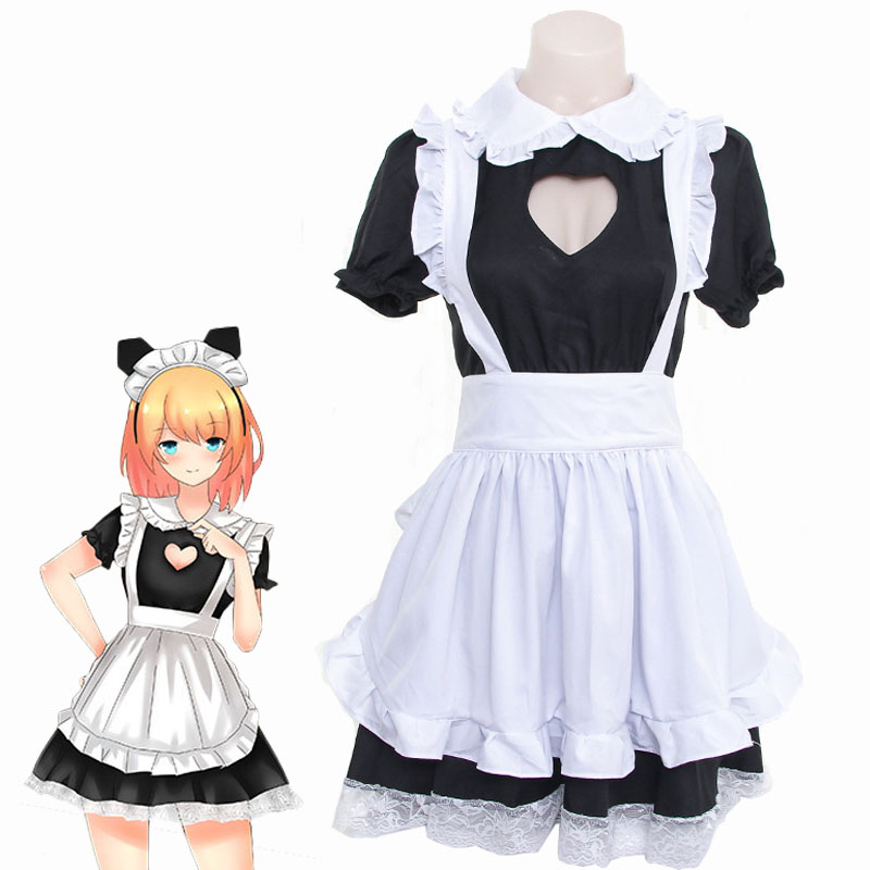 Women's Heart Open Chest Cosplay Maid Dress Lolita Heart Hollow Black Dress With White Apron Maid Uniform One Size