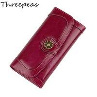 Cowhide Wallet Female Genuine Leather Vintage Luxury Money Phone Pocket Card Holder Women Wallets Clutch Woman