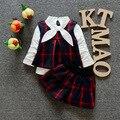 Bebê roupas de primavera bebê dos desenhos animados xadrez meninas roupas colégio vento colete T + shorts ternos crianças roupas