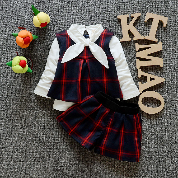 New Baby Clothing Set Spring Baby s Set Cartoon Plaid Boy Girls Clothes College Wind Vest