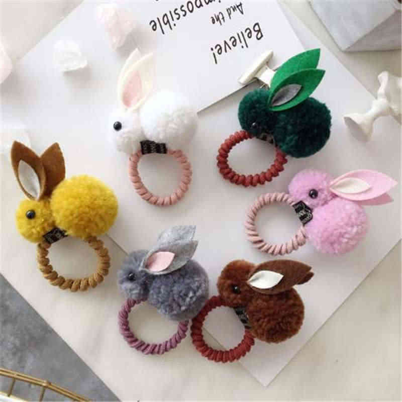 New Cute Animals Rabbit Style Hair Elastic Bands  Felt Three-Dimensional Plush Rabbit Ears Headband For Kids Hair Accessories