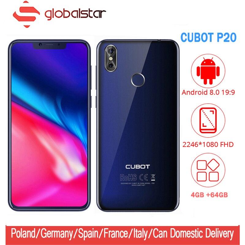 Cubot P20 Android 8.0 19:9 Tacca Dello Schermo 4 GB 64 GB 6.18 ''MT6750T Octa Core Per Smartphone 4000 mAh 2246*1080 20MP + 2.0MP 4G Celulares