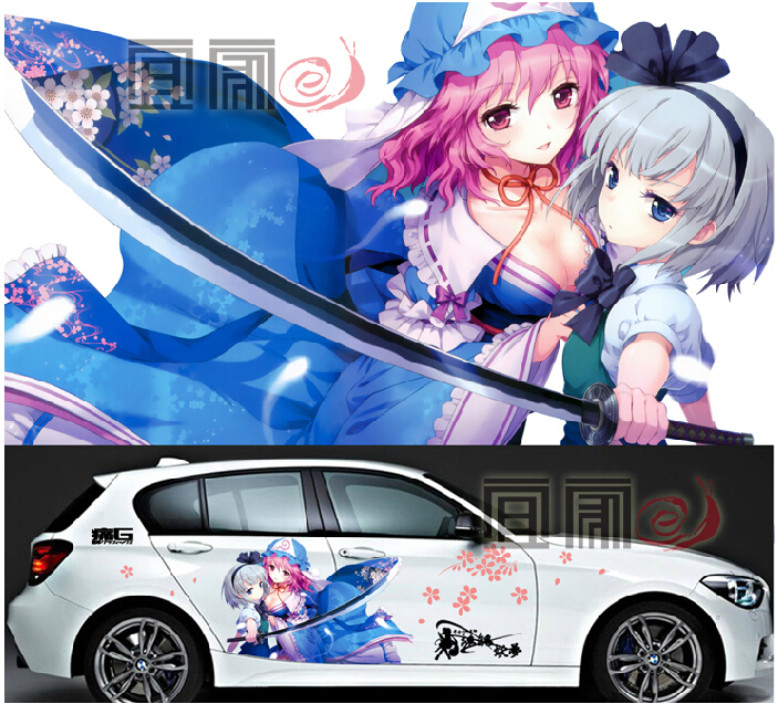 3 pieces custom hot anime touhou project car stickers car vinyl sticker 2 pieces street fighter