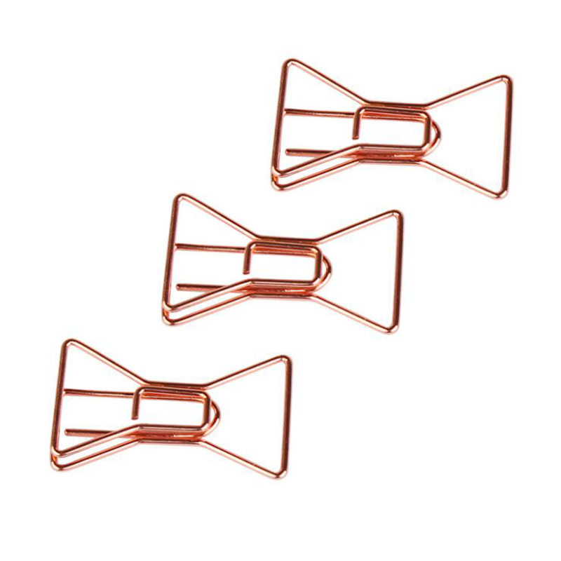 4pcs/Set Rose Gold Bow Paper Clip Creative Office Hand Account Shaped Paper Clips Children'S Students Stationery Gifts