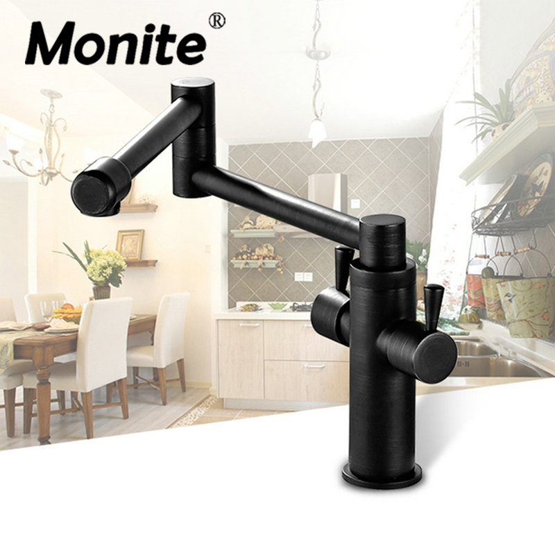 Oil Rubbed Bronze Swivel Kitchen Faucet 360 Rotatable Swivel Spout Black Kitchen Vessel Sink Faucet Mixer Tap golden brass kitchen faucet dual handles vessel sink mixer tap swivel spout w pure water tap