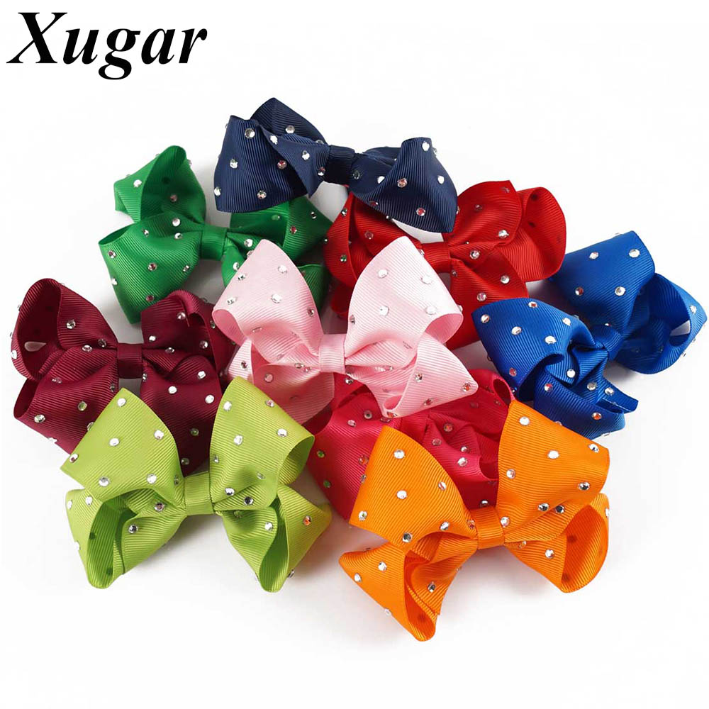Ha hair bow ribbon wholesale - 4 Chic Ribbon With Rhinestone Hair Bows Dance Party Summer Style Lovely Girls Hair
