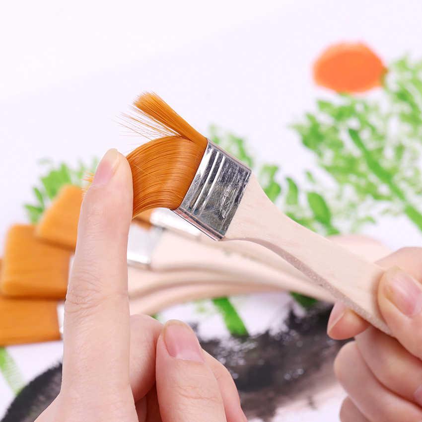 1-6 # 스타일 나무 유화 브러쉬 아티스트 수채화 페인트 브러시 다른 크기 나일론 헤어 페인팅 브러쉬 세트 미술 용품