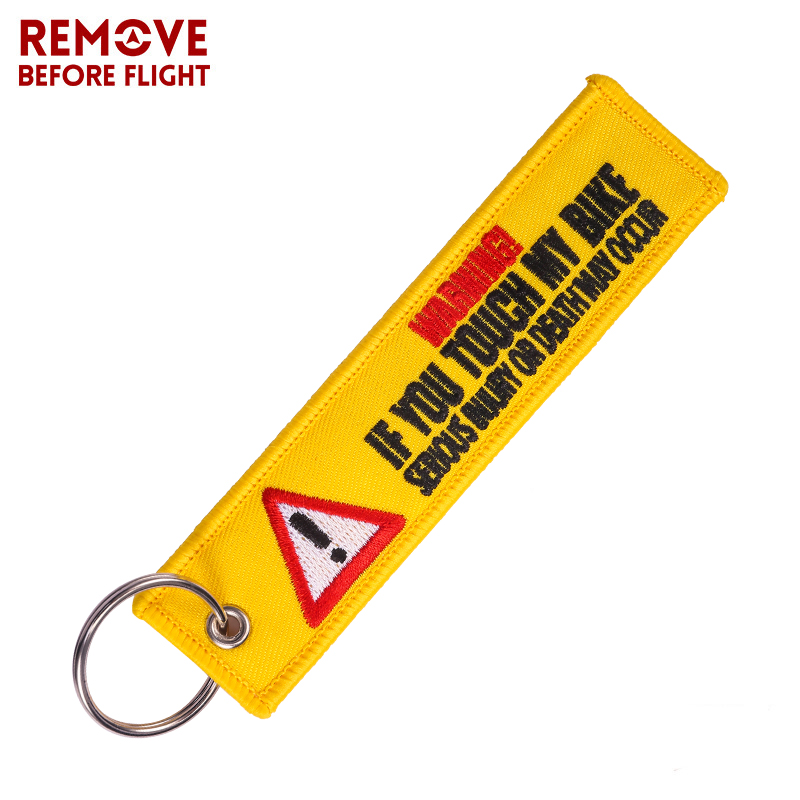 One Piece Warning Keychain Tag Launch Key Chain Keychains For Motorcycles And Cars Key Tag Embroidery Yelloew Danger Keychain