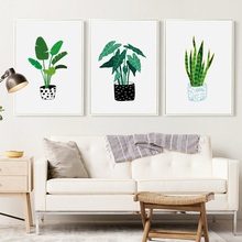 Elegant Poetry Modern Minimalist Pot Plant Canvas Painting Art Print Poster Picture Wall Home Living Room Decoration