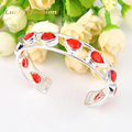 Special Holiday Gift Fire Sparking Drop Red Quartz Siver Plated Open Bangles Russia Australia Wedding Bangles