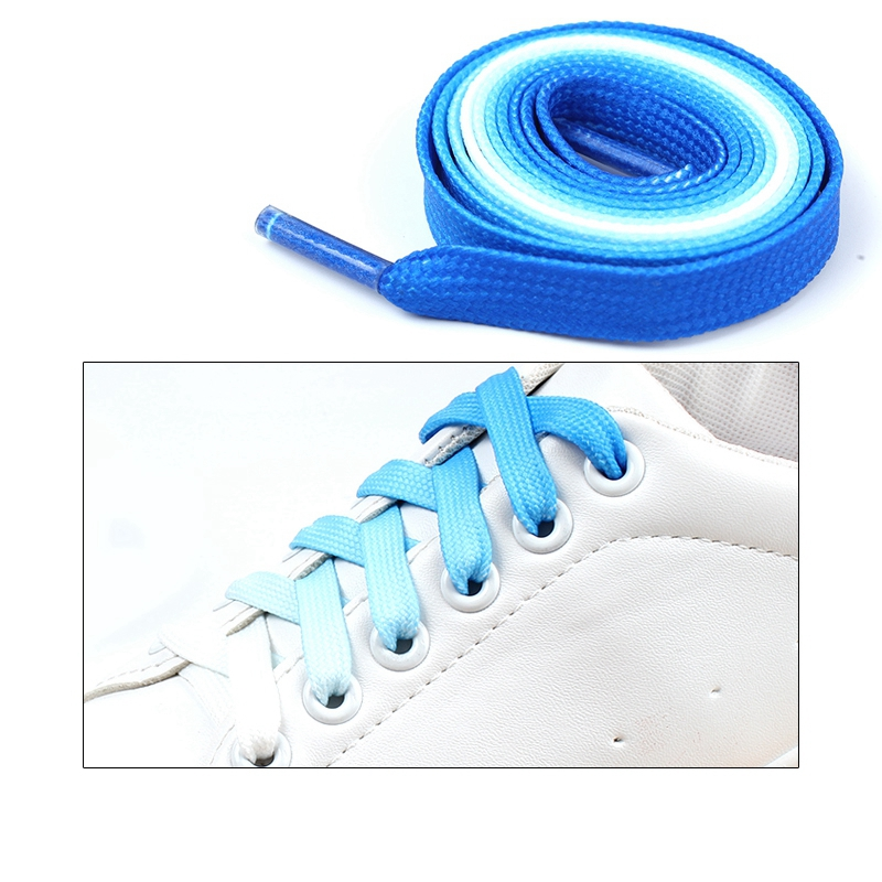 1Pair Colorful Shoelaces Candy Gradient Party Camping Boots Shoe laces Canvas Strings Camping Silk ShoeLace 100 120CM Length in Shoelaces from Shoes