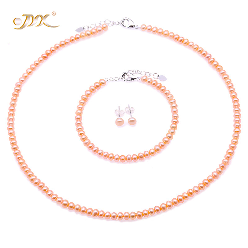 JYX Pearl Set Necklace Set Pink White Lavender Pearl Necklace Earrings Bracelet Sets 4 5 5 5 mm in Jewelry Sets from Jewelry Accessories