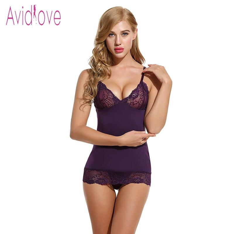 Avidlove Brand Summer Sleepwear Women Cotton Nightgown Sexy Spaghetti Strap Lace Lingerie Dress Sleepwear Sleepshirts Plus Size
