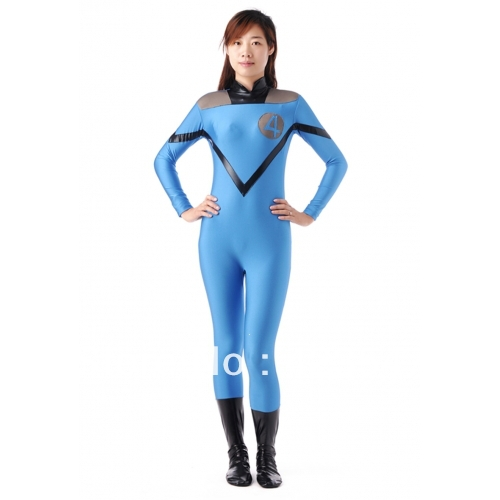 Female version of Sky Blue Fantastic Four costumes, spandex superhero Fantastic Four costumes, Halloween costumes