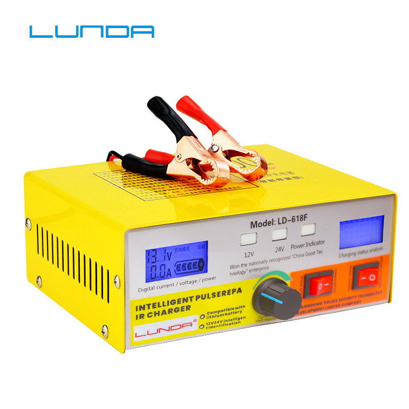 New 6-400ah Lead Acid Lithium Iron Battery Charger For 12v 24v Car Motorcycle Truck Auto Motor Professional Power Charging