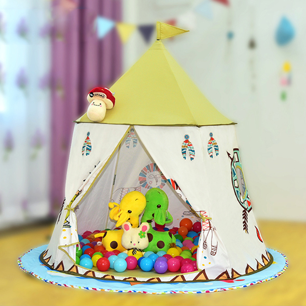 YARD Children Toy Tents Portable Cartoon Indian Stype Present Hang Flag Kids Tent PlayHouse Indoors Outdoors Cute Baby Tent mrpomelo kids toy tent solid color indian white tents with window 100