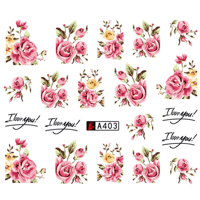 Rose Flower Nail Art Stickers