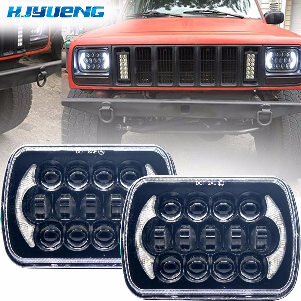 Image 1 - 5X7 inch 85W h4 LED HEADLIGHT BULB 7x6inch headlamp DRL for Jeep Wrangler YJ XJ truck FLD Firebird Celica 240SX 7inch led lamp-in Car Light Assembly from Automobiles & Motorcycles