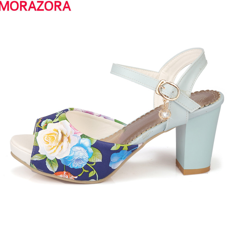 MORAZORA Hot sale women sandals ankle strap Bohemia high heels peep toe summer dress shoes print leather female shoesMORAZORA Hot sale women sandals ankle strap Bohemia high heels peep toe summer dress shoes print leather female shoes
